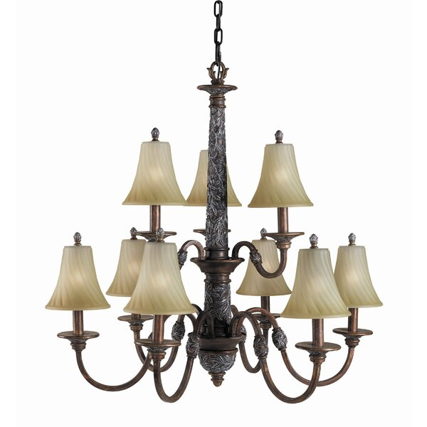 Metts 9 - Light Shaded Tiered Chandelier With Crystal Accents By Astoria Grand