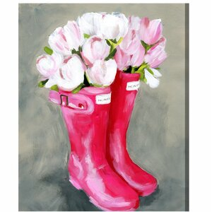 'Tulips & Rainboots' Painting Print on Wrapped Canvas by Willa Arlo Interiors