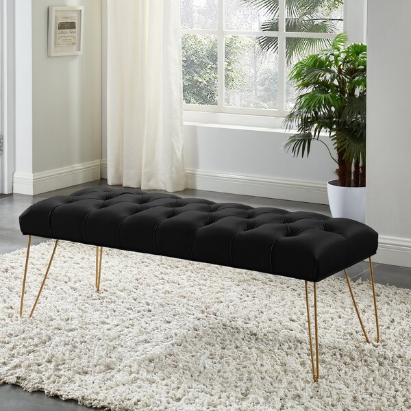Chadron Bench With Gold Colored Legs - Black Velvet By Mercer41 by Mercer41 Great Reviews