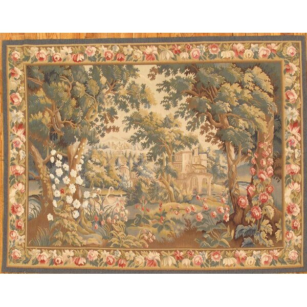 Tapestry Hand-Knotted Green/Brown Area Rug by Pasargad