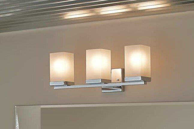 Shop Portfolio 3 Light Vassar Brushed Nickel Bathroom: Moen 90 Degree 3-Light Vanity Light & Reviews