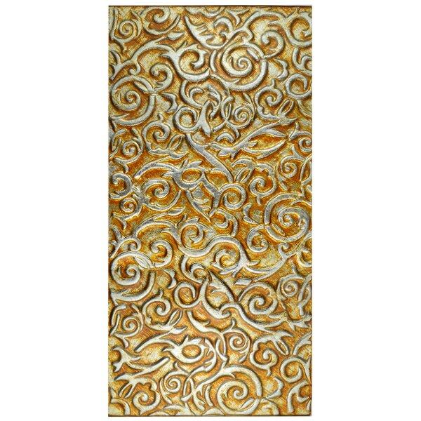 Florencia 11.75 x 23.75 Glass Field Tile in Burnt Orange/Gold Ivy by EliteTile