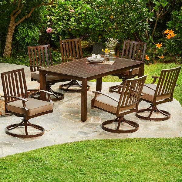 Yandel Bridgeport Motion 7 Piece Dining Set with Cushions by Darby Home Co
