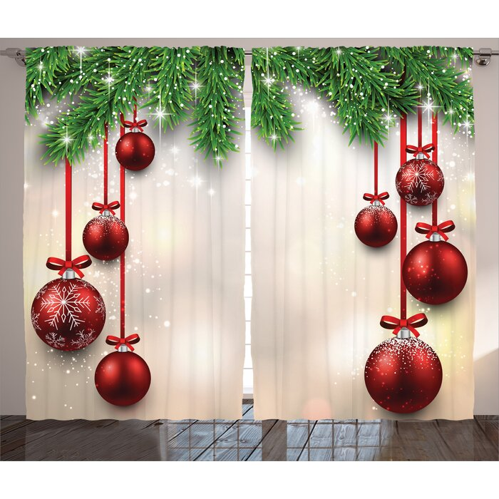Christmas Balls.Christmas Decorations Xmas Winter Season Theme Fir Twigs And Vibrant Balls Graphic Print Graphic Print Text Semi Sheer Rod Pocket Curtain Panels