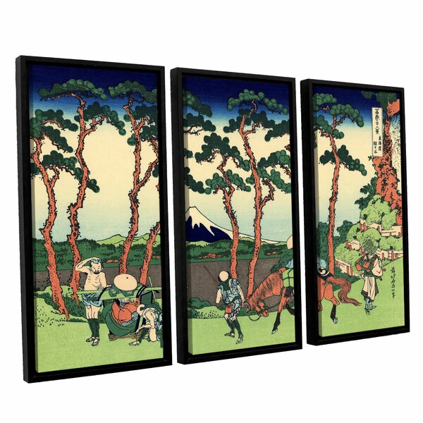 Hodogaya on the Tokaido by Katsushika Hokusai 3 Piece Framed Painting Print Set by ArtWall