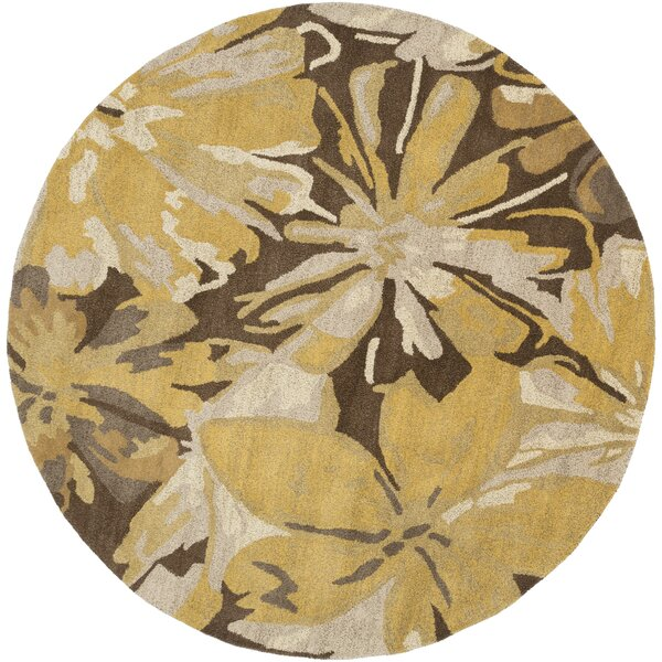Millwood Gold/Chocolate Floral Area Rug by Charlton Home