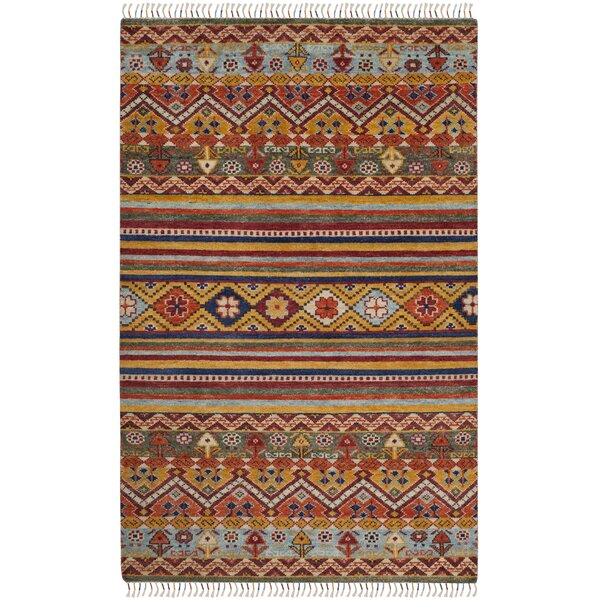 Rahal Hand Hooked Orange Area Rug  by Bloomsbury Market