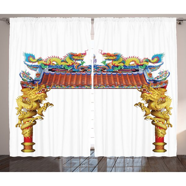 Zemamra Dragon Graphic Print and Text Semi-Sheer Rod Pocket Curtain Panels (Set of 2) by World Menagerie