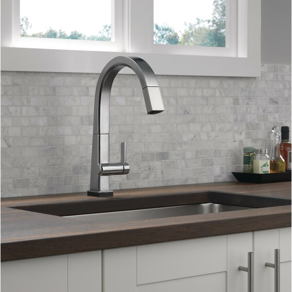 Pivotal Pull Down Touch Single Handle Kitchen Faucet with Touch20 Technology by Delta