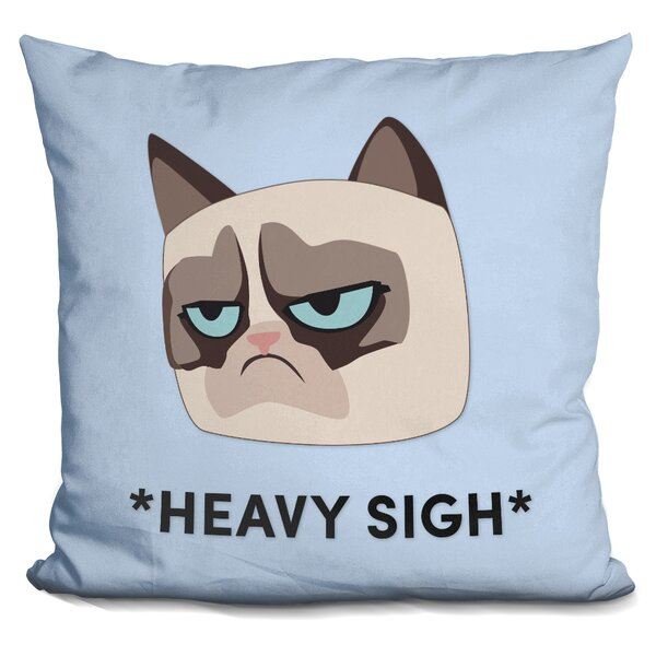 Heavy Sight Grumpy Cat Throw Pillow by LiLiPi