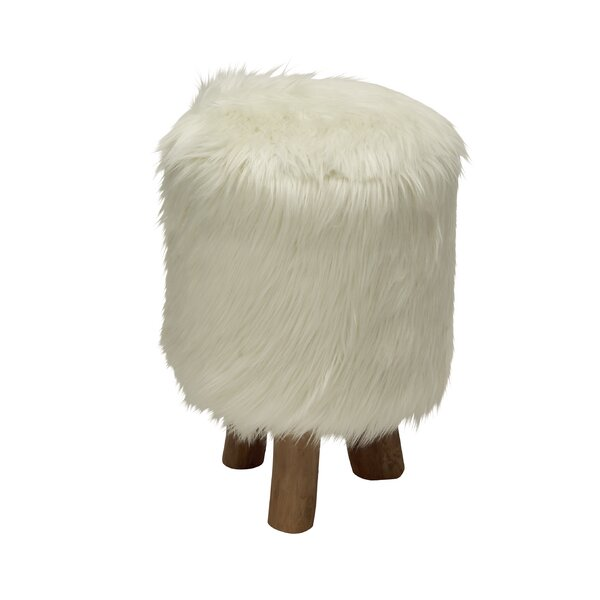 Ozella Wood/Faux Fur Round Stool by Bungalow Rose