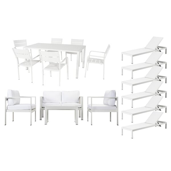 Hillwood 17 Piece Conversation Set with Cushions by Rosecliff Heights