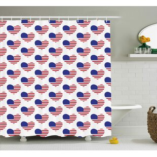 4th Of July Retro Happy Independence Day Emblem Artsy Patriotic This Land  Illustration Shower Curtain