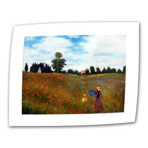 Red Poppies at Argenteuil by Claude Monet Print of Painting on Rolled Canvas by ArtWall