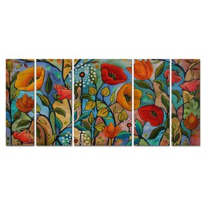 Garden Party by Peggy Davis 5 Piece Painting Set by All My Walls