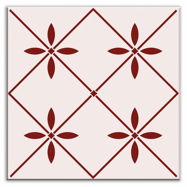 Folksy Love 6 x 6 Glossy Decorative Tile in Glass Burgundy by Oscar & Izzy