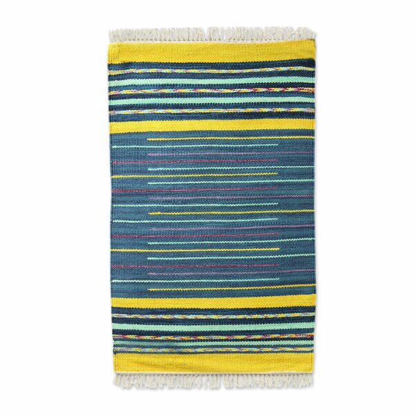 Raymer Sky Over Kutch Hand-Woven Cotton Blue/Yellow Area Rug by Bloomsbury Market