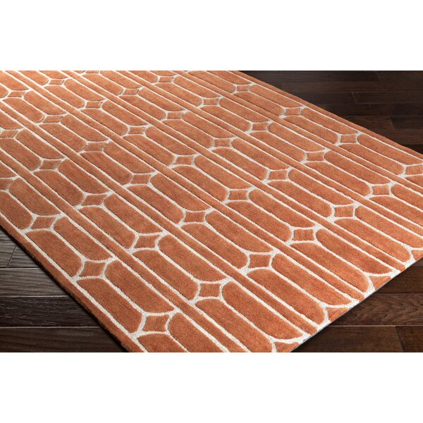 Moultry Hand-Tufted Orange Area Rug by Wrought Studio