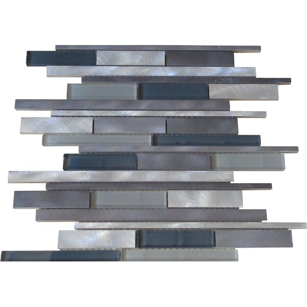 Urban Random Sized Aluminum and Glass Metal Look Tile in Glossy Silver/Gray by Mulia Tile