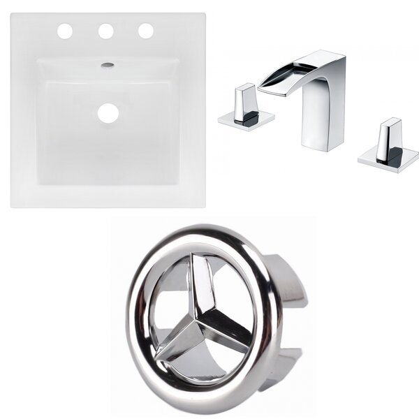 Ceramic Square Drop-In Bathroom Sink with Faucet by American Imaginations