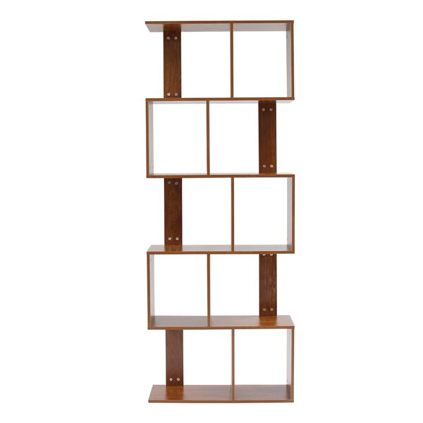 Vowell 5 Tier Shelves Display Geometric Bookcase by Wrought Studio