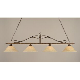 4 Light Wrought Iron Rope Kitchen Island Pendant. By Toltec Lighting