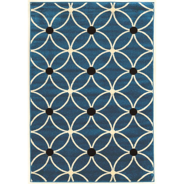 Belding Machine Woven Blue Area Rug by Wrought Studio