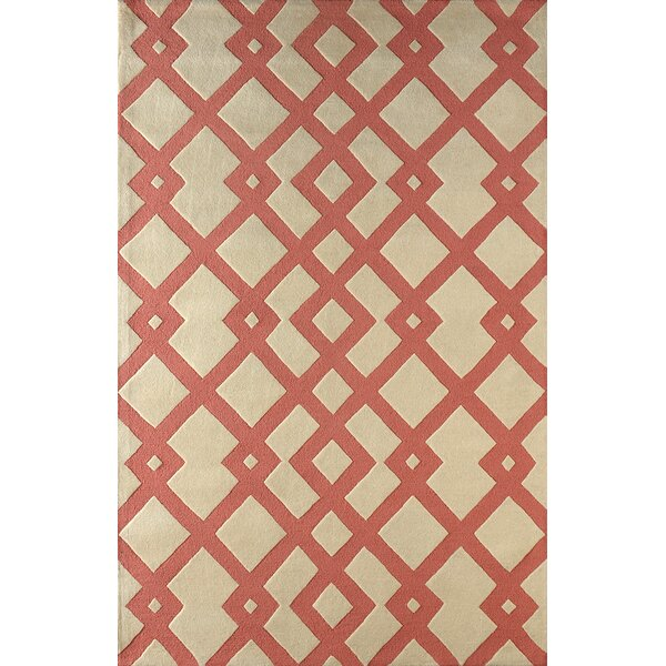 Glenside Hand-Tufted Wool Coral/Beige Area Rug by Mercer41