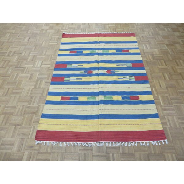 One-of-a-Kind Pasuruan Kilim Flat Weave Hand-Woven Reversible Hand-Knotted Wool Yellow/White Area Rug by Bungalow Rose