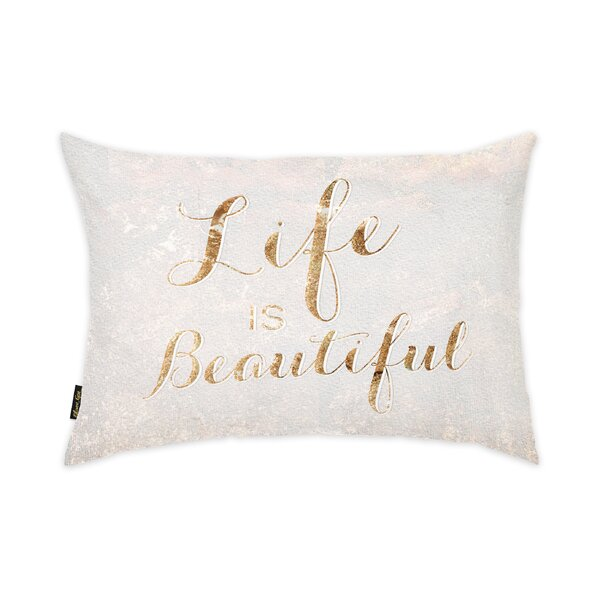 Life Is Beautiful Lumbar Pillow by Oliver Gal