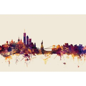 Skyline Series: New York City, New York, USA I Graphic Art on Wrapped Canvas in Beige by East Urban Home