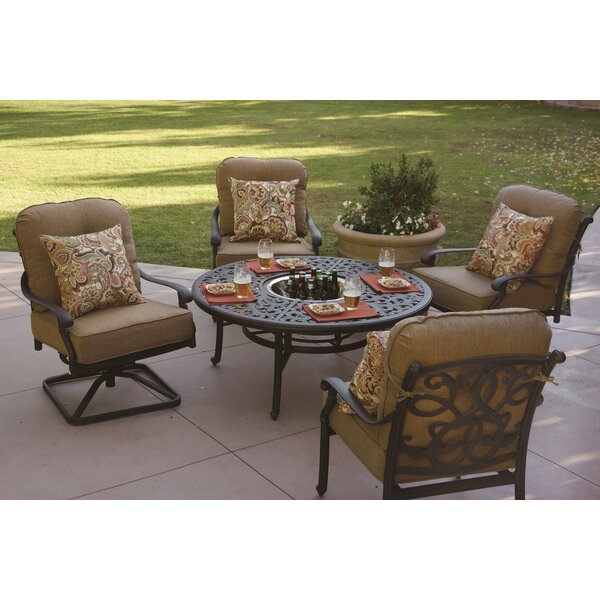 Calhoun 5 Piece Multiple Chairs Seating Group with Cushions by Fleur De Lis Living