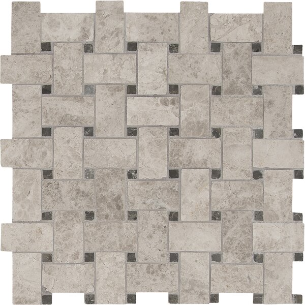 Tundra Basketweave Pattern Polished Marble Mosaic Tile in Gray by MSI