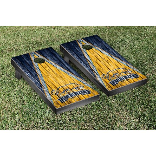 Massachusetts College of Liberal Arts Trailblazers Triangle Weathered Version Cornhole Game Set by Victory Tailgate