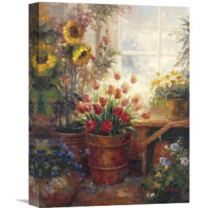 Sunflower Garden I' by Hong Painting on Wrapped Canvas by Global Gallery