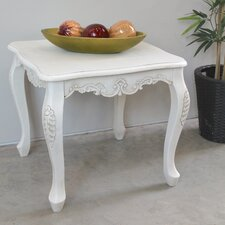 Adelinna Antique White Hand Carved End Table by Ophelia & Co.