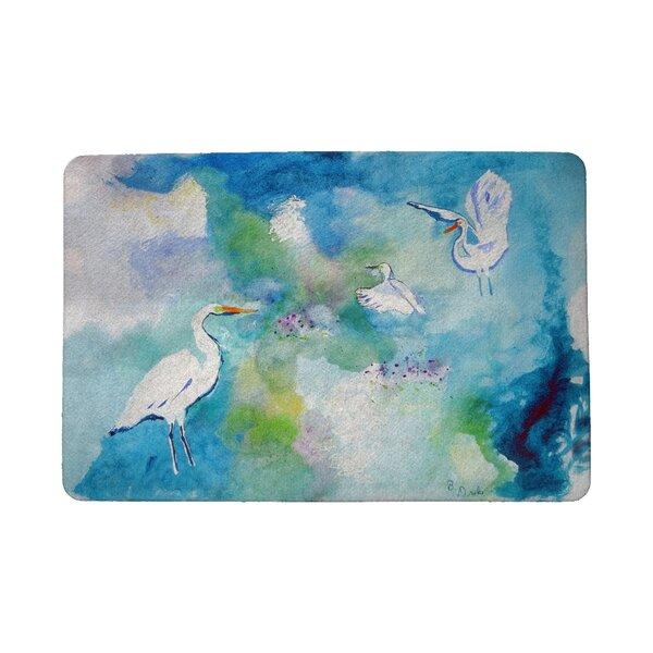 Louison Three Egrets 18 x 26 Non-Slip Indoor Outdoor Door Mat