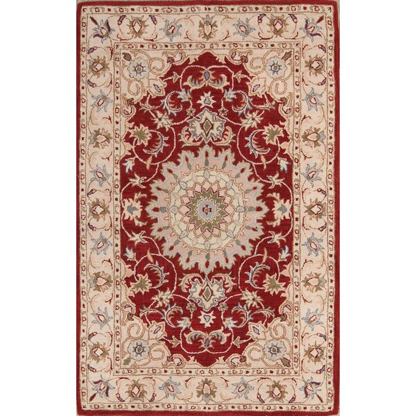 Brittni Tabriz Indian Oriental Hand-Tufted Wool Beige/Burgundy Area Rug by Bloomsbury Market