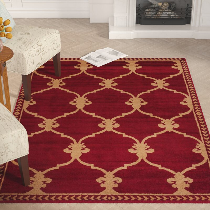 Astoria Grand Coggrey Fleur De Lis Red Area Rug Reviews Wayfair