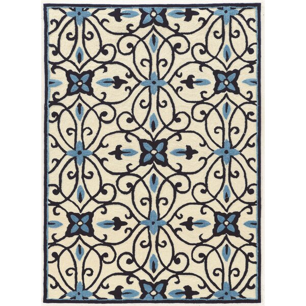 Coggins Hand-Tufted Black/Cream/Blue Area Rug by Charlton Home