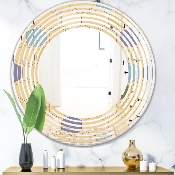 Wave Hexagon Patterns Modern Frameless Wall Mirror