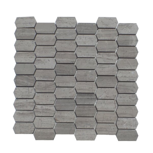 Honeycomb Honed 1 x 2 Natural Stone Mosaic Tile in Wood Ash by Mulia Tile