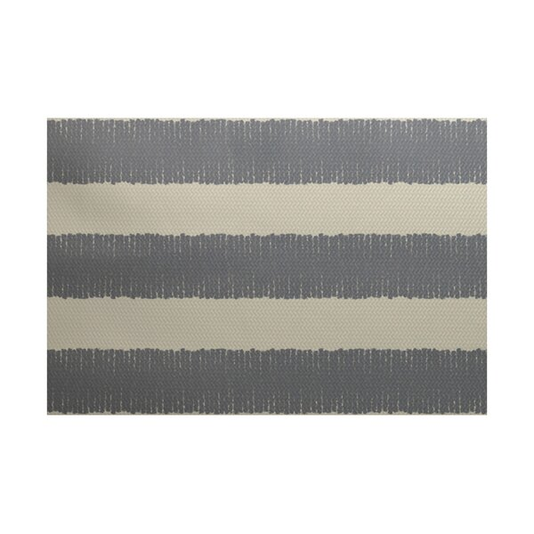 Leann Twisted Stripe Print Gray Indoor/Outdoor Area Rug by Winston Porter