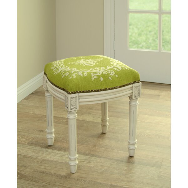 Clematite Napoleon Bee Linen Upholstered Vanity Stool by Lark Manor