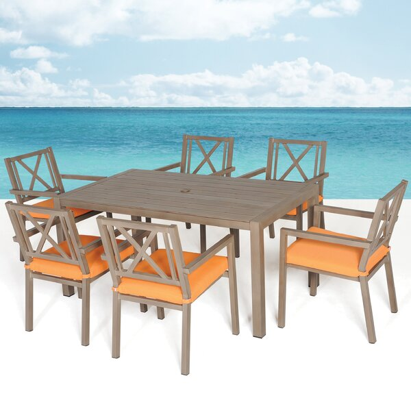 Avalon 7 Piece Dining Set with Cushions by Meadow Decor