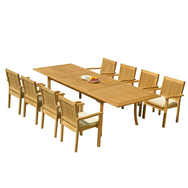 Mashburn 9 Piece Teak Dining Set by Rosecliff Heights