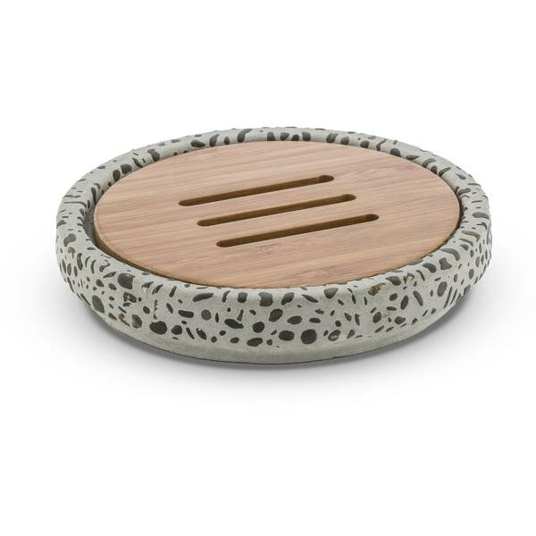 Achilles Round Cement and Bamboo Soap Dish by Bloomsbury Market