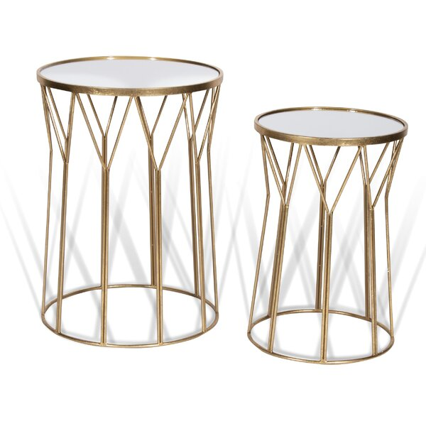 Delvale Drum Nesting Tables by Everly Quinn Everly Quinn