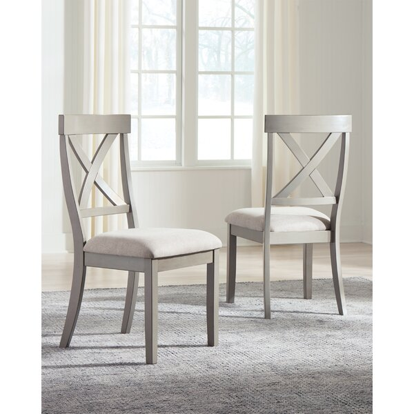 Kraus Solid Wood Cross Back Side Chair In Gray (Set Of 2) By August Grove