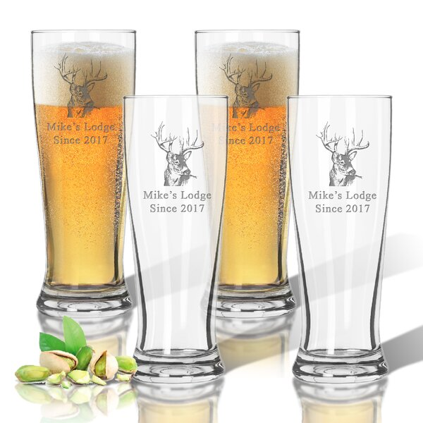 Tritan Buck Lodge 14 oz. Pilsner Glass (Set of 4) by Carved Solutions
